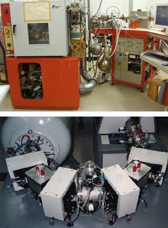 Photos by: Leibniz Laboratory. Above: Kiel carbonate device. Below: Separator-recombinator unit of the HVE AMS System.